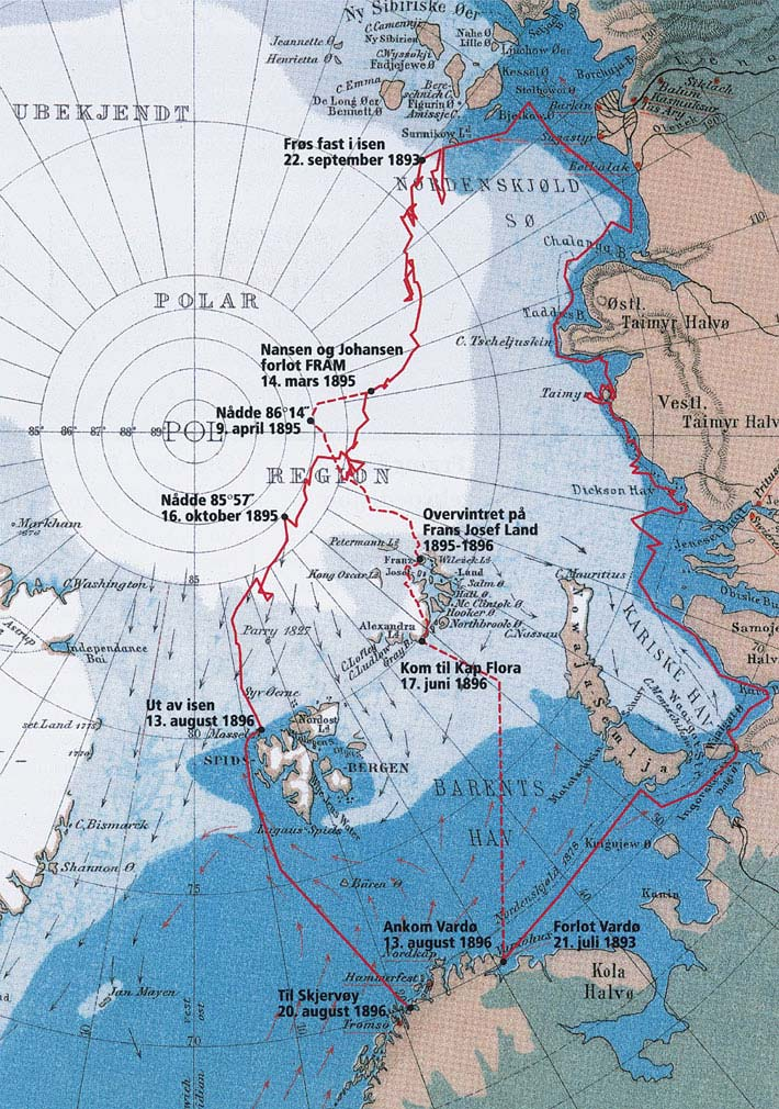 Map of Fram's route across the Arctic