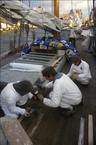 Deck repairs on schooner Anne