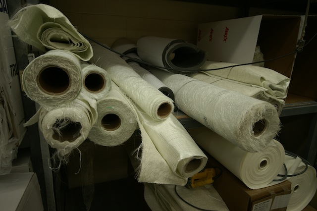 Rolls of fiberglass fabric used for building boats