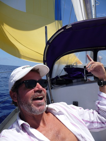 Charlie Doane just launched a spinnaker
