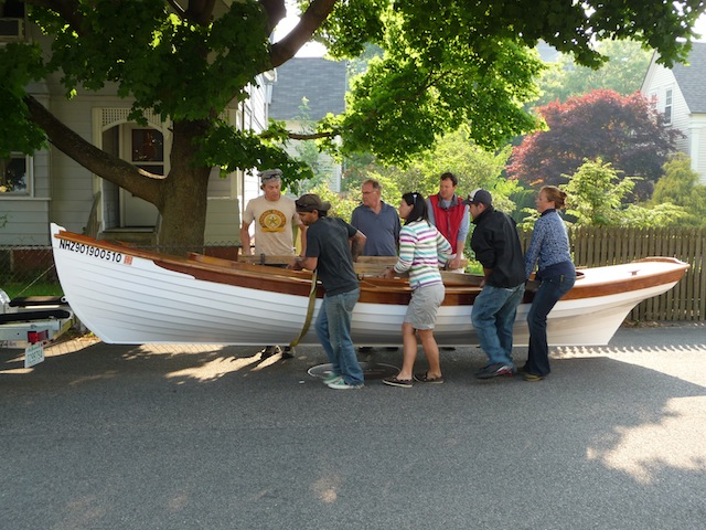 Loading Kali's skiff on its trailer