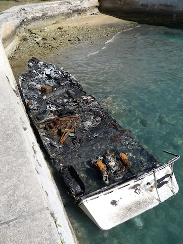 Burned boat at St. Georges, Bermuda