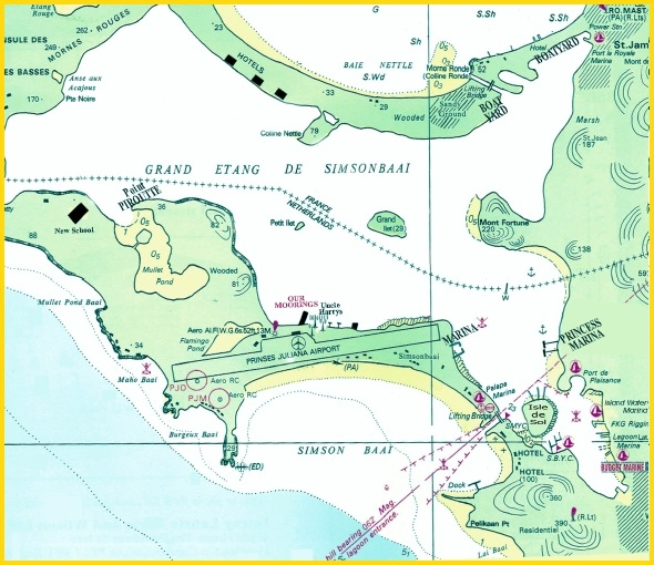 Map of Simpson Bay Lagoon
