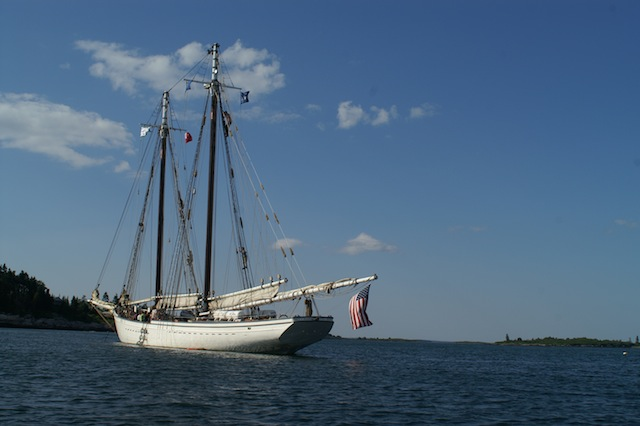 Schooner anchored at Cliff Island, Maine