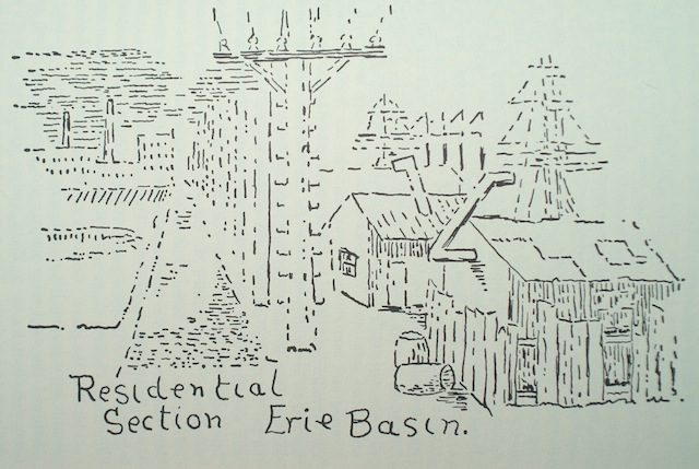 Drawing of Erie Basin from The Boy Me and the Cat