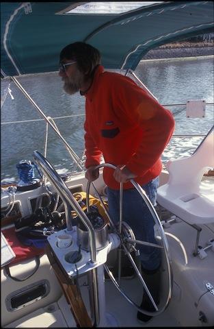Nigel Calder aboard Nada