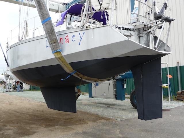 Boat in Travelift slings