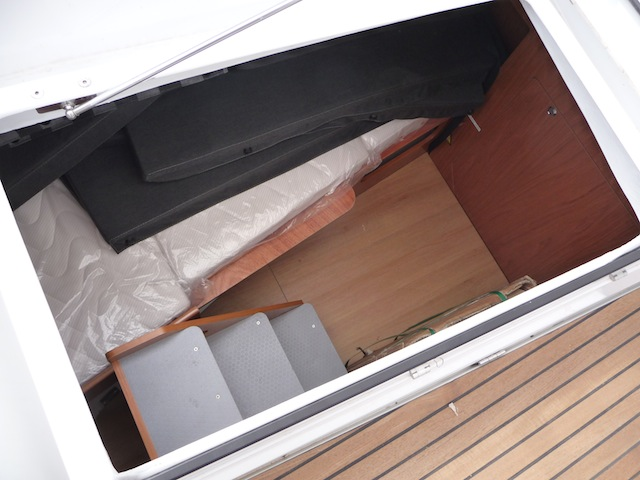 Cockpit locker with berth on Beneteau Sense 50