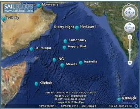 Yachts tracks in Indian ocean
