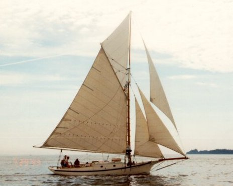Friendship sloop under sail