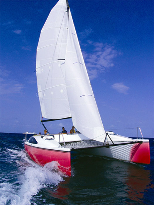Catamaran sailing in a seaway