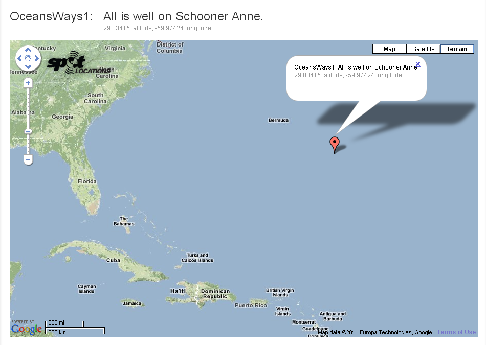 Position of schooner Anne
