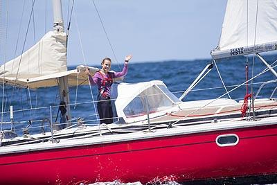 Laura Dekker aboard Guppy