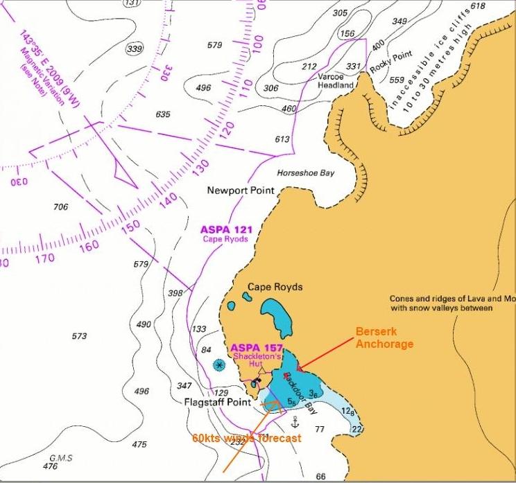 Berserk anchorage at Cape Royds