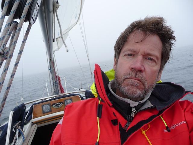 Charlie Doane aboard Alida in fog