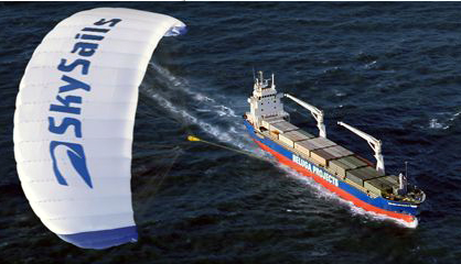 Kite sail container ship