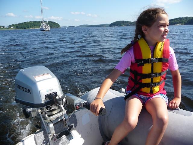 child running boat