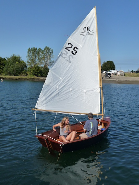 Oyster River Cat under sail