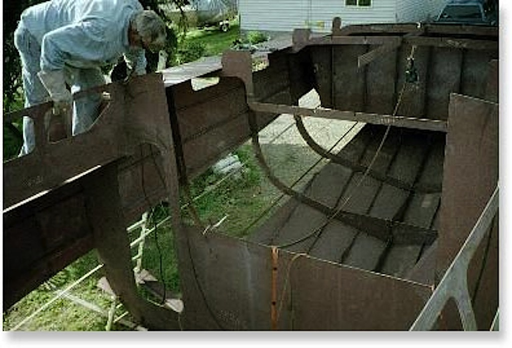 Steel boat in build