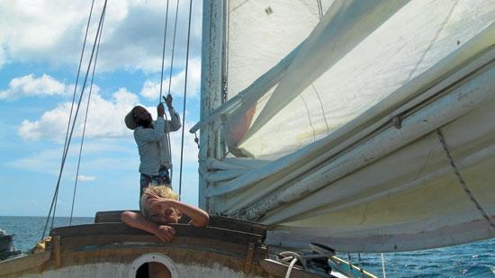 Raising sail on Oasis
