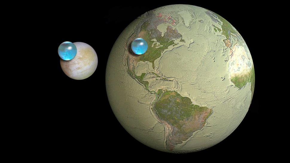 Earth and Europa with water