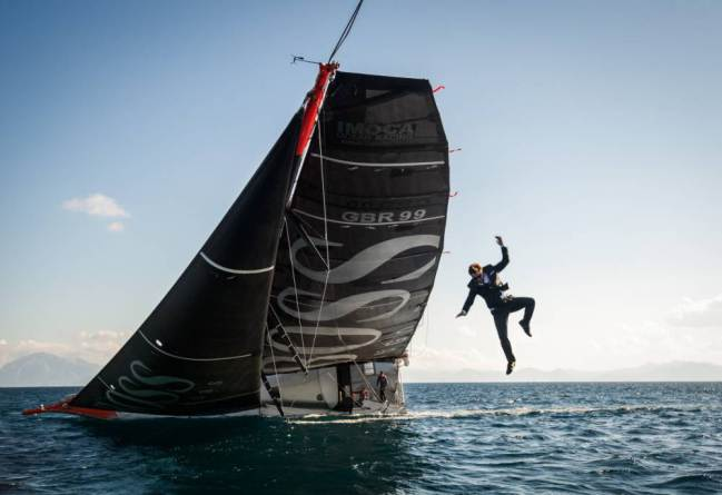 Alex Thomson airborne
