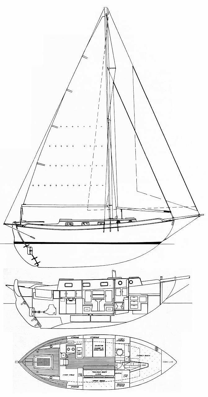 Westsail 32 drawing