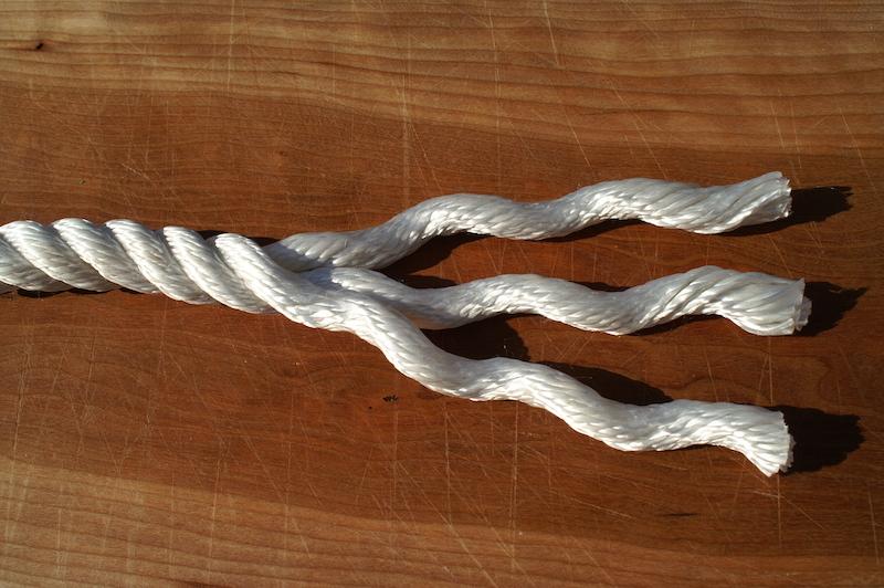 Three-strand nylon rope
