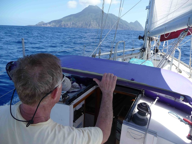 Approaching Saba under sail