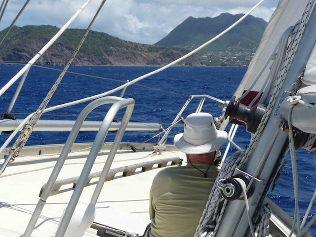 Approaching Statia under sail