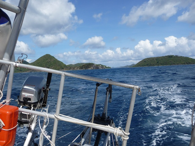 Stern of Lunacy as she departs Tortola