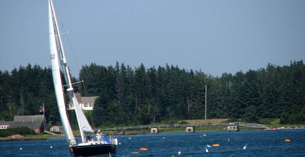 Sailing among lobster pots in Maine