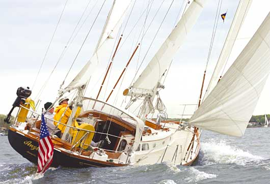 Hinckley Bermuda 40 under sail