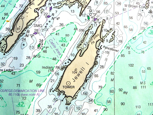 Chart of Jewell Island, Maine
