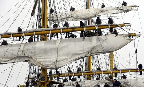 Tall ship Gorch Fock crew aloft