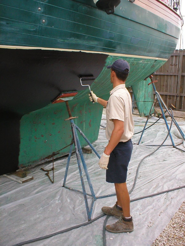 Applying bottom paint