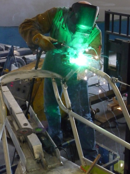 Welding on Lunacy's new sprit