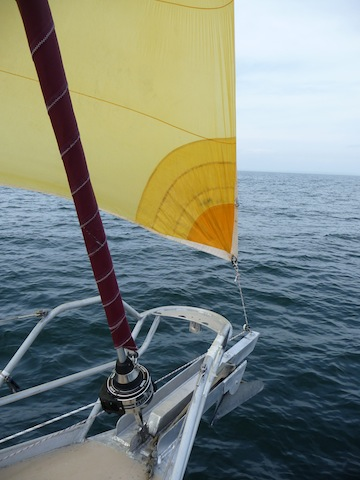 A-sail tacked to bowsprit