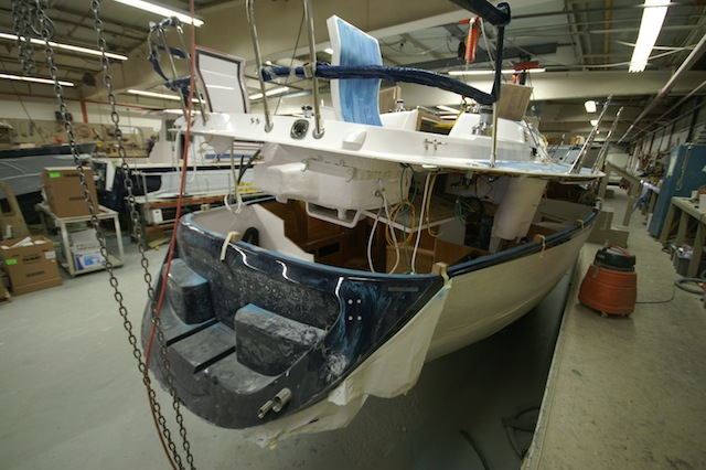 Sailboat deck going on hull