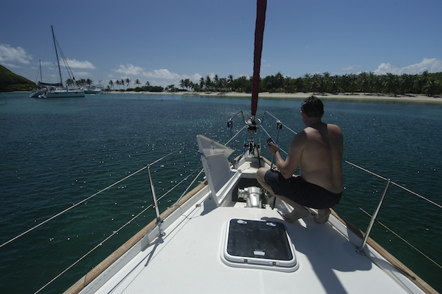 Anchoring a sailboat