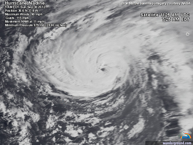 Hurricane Nadine sat photo