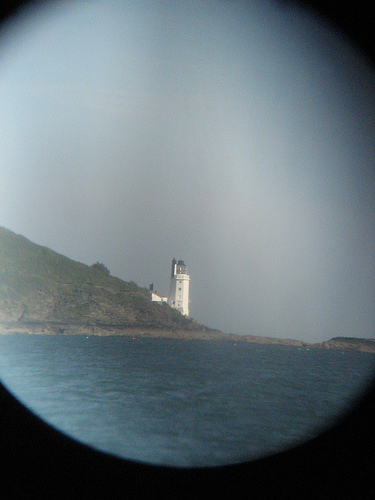 Lighthouse in binoculars