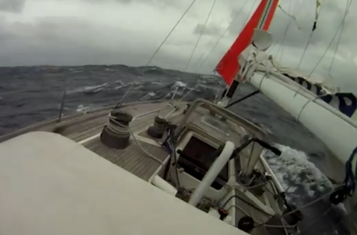 Swan 48 in storm
