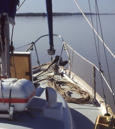 Sailboat foredeck